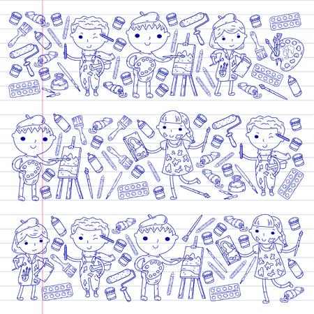 Children's art activity in school vector design. Illustration