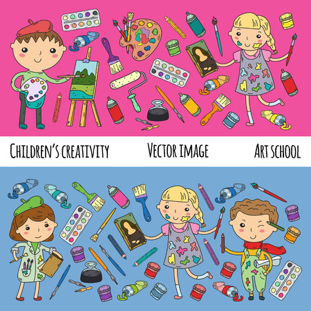 Children's art activity in school vector design.