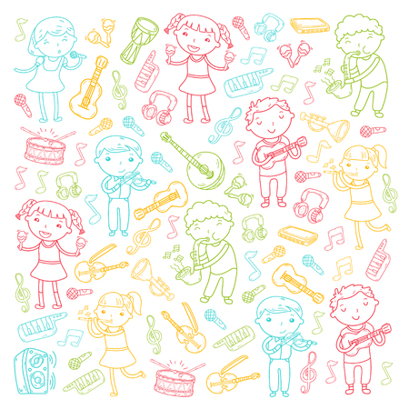 Children with musical instruments doodle icon collection.