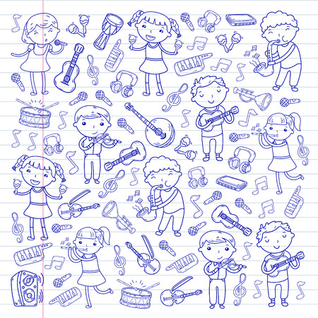Music school for kids doodle icon collection. Stock Vector - 92190255