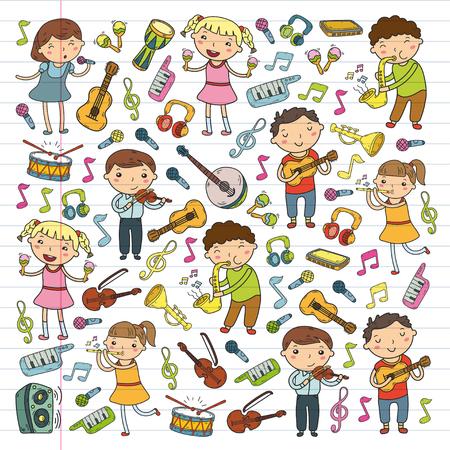아이들을위한 음악 학교 낙서 아이콘 컬렉션. 일러스트