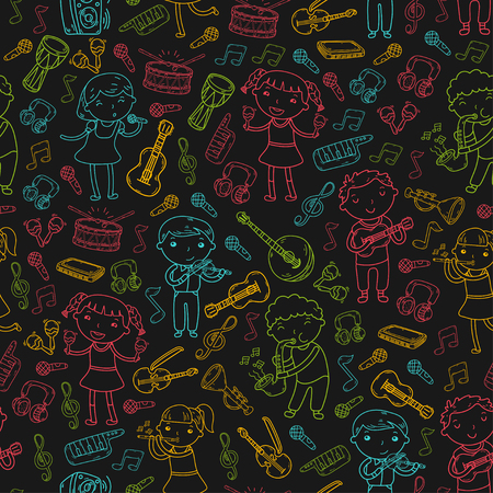 Music school for kids doodle icon collection.
