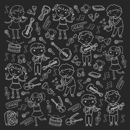 Children singing songs and playing musical instruments doodle icon collection.