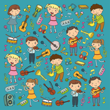 Children singing songs and playing musical instruments doodle icon collection. Stock Vector - 92189894