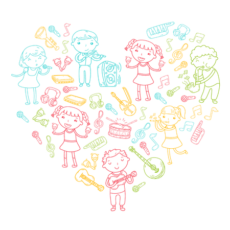 Children singing songs and playing musical instruments doodle icon collection. Stock Vector - 92189896