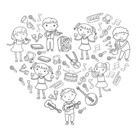 Kinderen zingen liedjes en spelen muziekinstrumenten doodle icoon collectie. Stock Illustratie