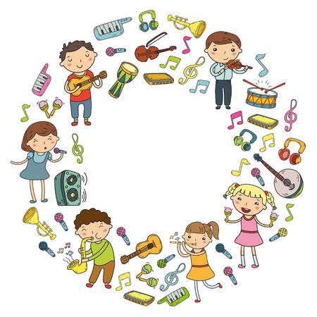 Crianças cantando e tocando instrumentos musicais doodle coleção de ícone. Foto de archivo - 92189901