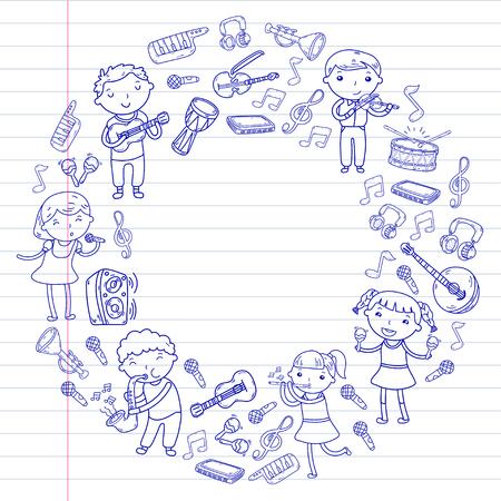 歌を歌ったり、楽器を演奏する子供たちはアイコンコレクションを落書きします。