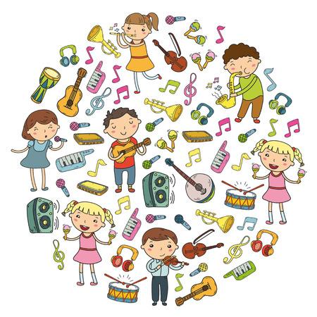 Escola de música para crianças Ilustração vetorial Crianças cantando canções, tocando instrumentos musicais Doodle coleção de ícones Ilustração para crianças lição de música