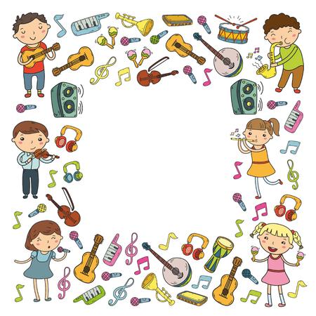 Escola de música para crianças Ilustração vetorial Crianças cantando canções, tocando instrumentos musicais Doodle coleção de ícones Ilustração para crianças lição de música Ilustración de vector