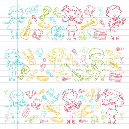 Music school for kids Vector illustration Children singing songs, playing musical instruments  Doodle icon collection Illustration for children music lesson Stock Vector - 92201079