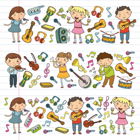 Music school for kids Vector illustration Children singing songs, playing musical instruments  Doodle icon collection Illustration for children music lesson Stock Vector - 92201080