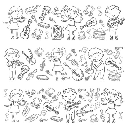 Music school for kids Vector illustration Children singing songs, playing musical instruments  Doodle icon collection Illustration for children music lesson Stock Vector - 92201158