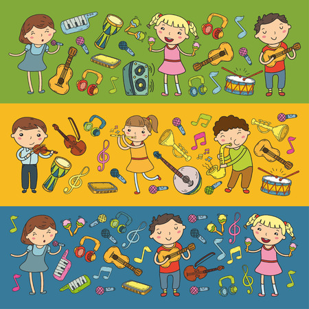 Music school for kids Vector illustration Children singing songs, playing musical instruments  Doodle icon collection Illustration for children music lesson Stock Vector - 92201161