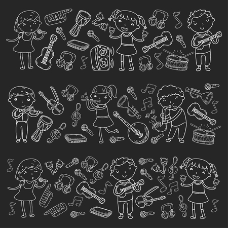 Music school for kids Vector illustration Children singing songs, playing musical instruments  Doodle icon collection Illustration for children music lesson Stock Vector - 92201159