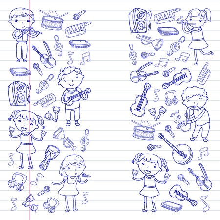 Music school for kids Vector illustration Children singing songs, playing musical instruments  Doodle icon collection Illustration for children music lesson
