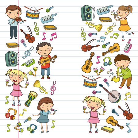 Music school for kids Vector illustration Children singing songs, playing musical instruments  Doodle icon collection Illustration for children music lesson Stock Vector - 92201168