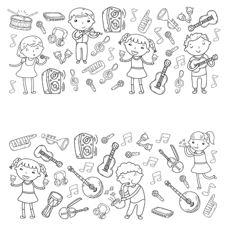 Music school for kids  illustration, boys and girls singing songs, playing musical instruments, kids doodle icon collection.