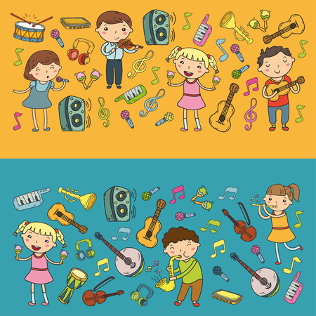 Music school for kids Vector illustration Children singing songs, playing musical instruments  Doodle icon collection Illustration for children music lesson Stock Vector - 92201236