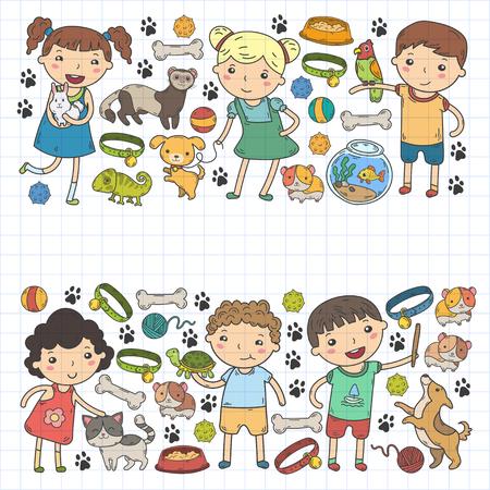 Children zoo Pet shop Veterinary Kindergarten kids with dog, hamster, cat Animals and food and accessories.