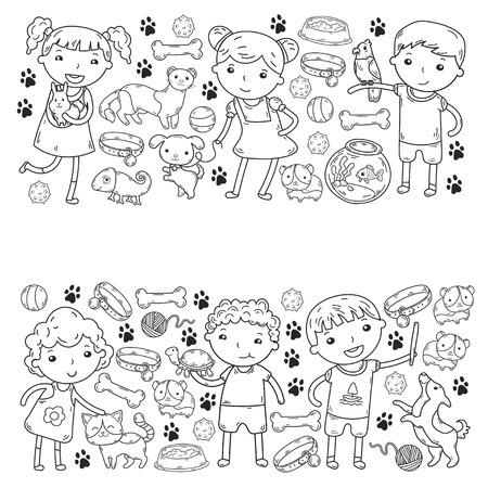 Children zoo pet shop. Kindergarten kids with dog, hamster, cat, animals food and accessories.