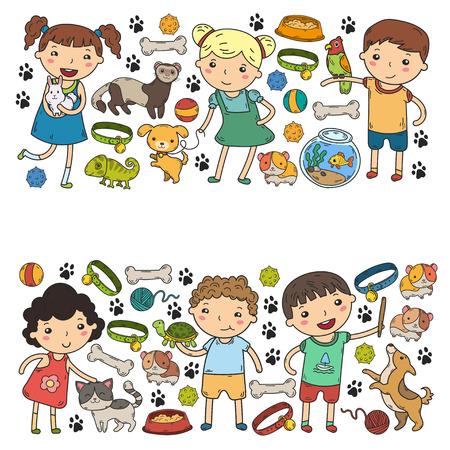어린이 동물원 애완 동물 샵 개, 햄스터, 고양이와 함께하는 수의사 동물 및 식품 및 액세서리 스톡 콘텐츠 - 92247154