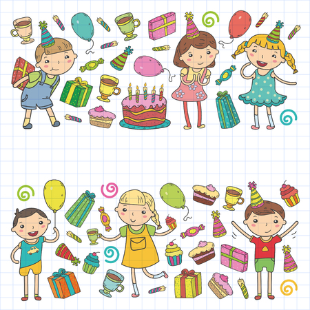 Diseño del feliz cumpleaños con los emoticones que llevan el sombrero del cumpleaños en el espacio vacío blanco para el mensaje y el texto para el partido y la celebración. Foto de archivo - 92248102