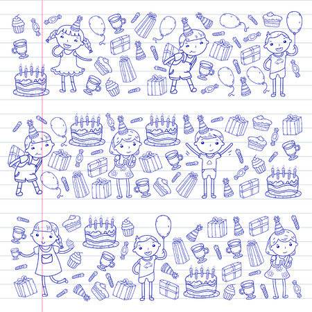 Happy birthday design with smileys wearing birthday hat in white empty space for message and text for party and celebration. Ilustracja