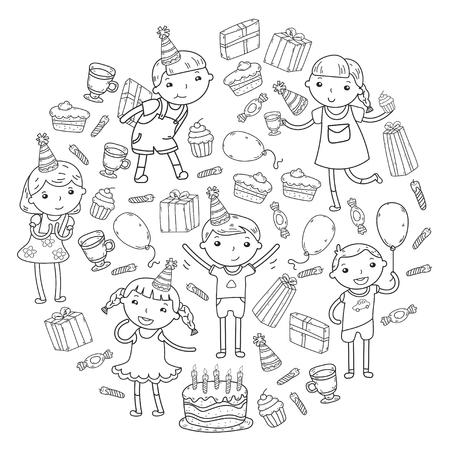 Diseño del feliz cumpleaños con los emoticones que llevan el sombrero del cumpleaños en el espacio vacío blanco para el mensaje y el texto para el partido y la celebración. Foto de archivo - 92250911