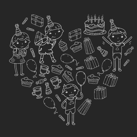 Happy birthday vector design. Birthday hat party and celebration. Kindergarten children, school kids party. Illustration