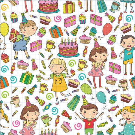 Happy birthday vector design. Birthday hat party and celebration. Kindergarten children, school kids party illustration.