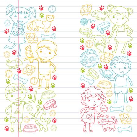 Children zoo pet shop illustration.