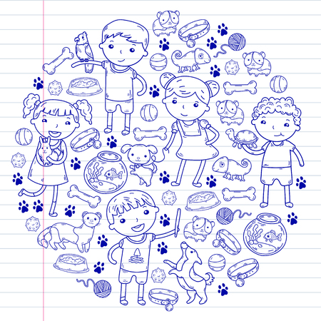 Children zoo, pet shop. Kindergarten kids with dog, hamster, cat animals and food and accessories. Ilustracja