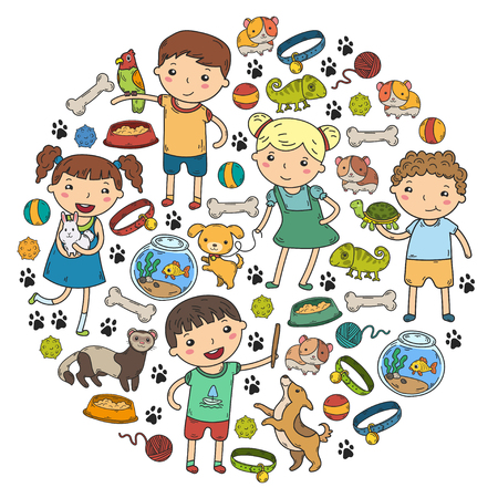 Children zoo Pet shop Veterinary Kindergarten kids with dog, hamster, cat Animals and food and accessories.