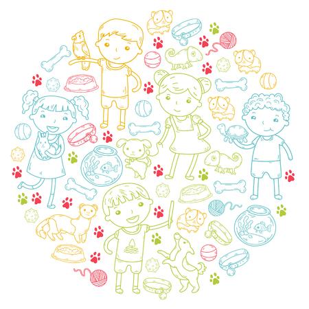 Children zoo, pet shop. Kindergarten kids with dog, hamster, cat animals and food and accessories. Zdjęcie Seryjne - 92324204