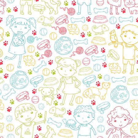 Children zoo, pet shop. Kindergarten kids with dog, hamster, cat animals and food and accessories. Zdjęcie Seryjne - 92324211