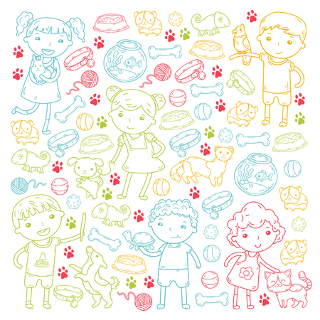 Children zoo, pet shop. Kindergarten kids with dog, hamster, cat animals and food and accessories. Illustration