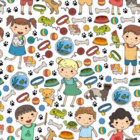 Children zoo Pet shop Veterinary Kindergarten kids with dog, hamster, cat Animals and food and accessories Zdjęcie Seryjne