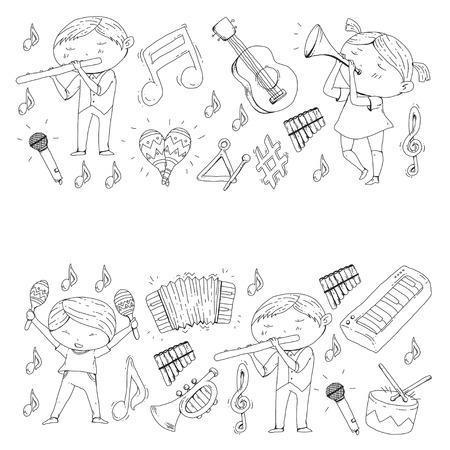 School of music Musical theater  kids instrument pattern design. Stock Illustratie