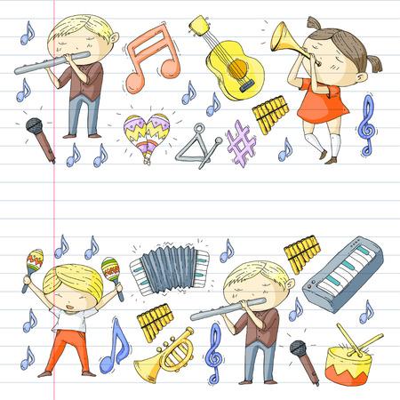 School of music Musical theater  kids instrument pattern design. Stock Vector - 92345335