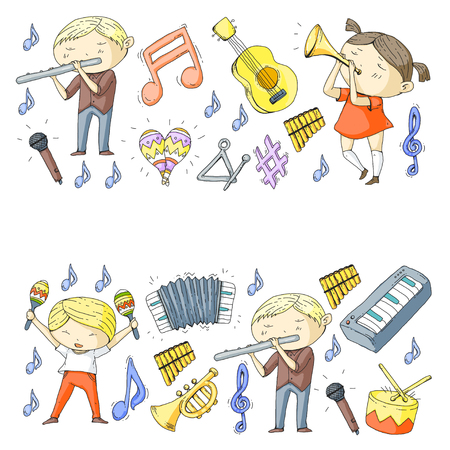 School of music Musical theater  kids instrument pattern design. Stock Vector - 92345337