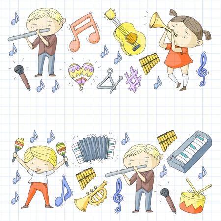 Escola do projeto do teste padrão do instrumento das crianças do teatro musical da música. Foto de archivo - 92345339