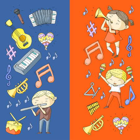 School of music, musical theater. Kindergarten children with music instruments. Boys and girls playing drum, flute, accordion, trumpet, piano. Vettoriali