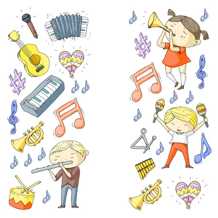 School of music, musical theater. Kindergarten children with music instruments. Boys and girls playing drum, flute, accordion, trumpet, piano. Ilustração