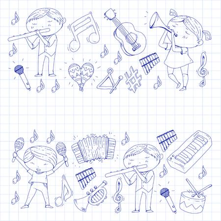 Childrens orchestra vector illustration