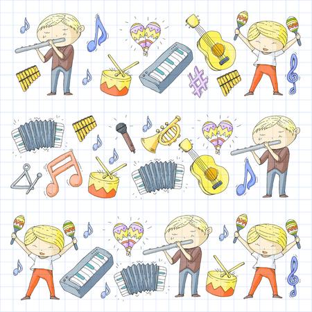 Ilustración de vector inconsútil de la orquesta infantil Foto de archivo - 92339271