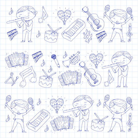 Childrens orchestra seamless vector illustration