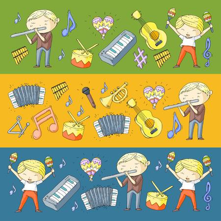 Kindergarten children with music instruments like drum, flute, accordion, trumpet, piano Illustration