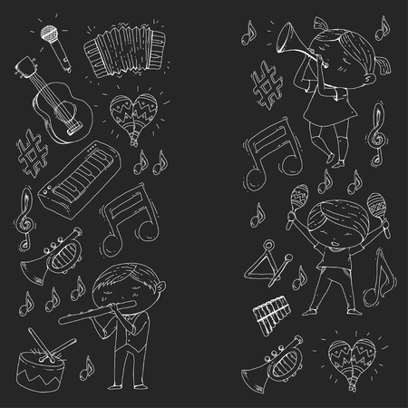 School of music, musical theater. Kindergarten children with music instruments. Boys and girls playing drum, flute, accordion, trumpet, piano. Illustration