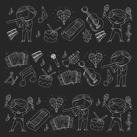 Different illustration of musical instruments played by kindergartens in black background.
